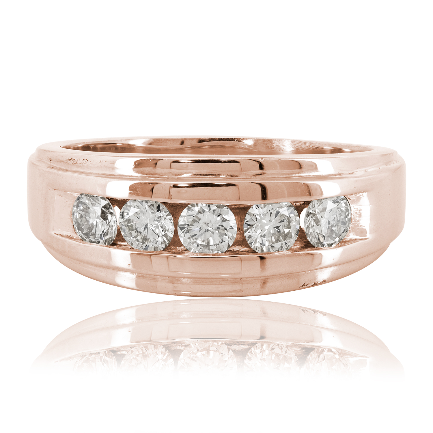 Mens 10k Rose Gold Real Diamond Channel Set Wedding Engagement Band Ring 0.20 Ct